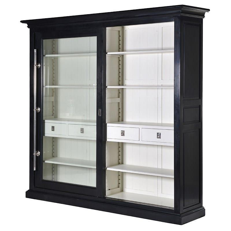Kensington Black Cream Sliding Glass Door Display Cabinet