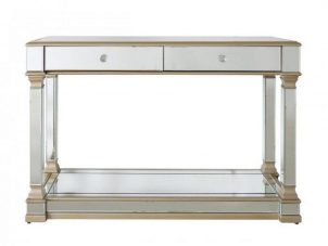 Console Table - Champagne Edged - Mirrored - 2 Drawer - Mirrored Furniture Range