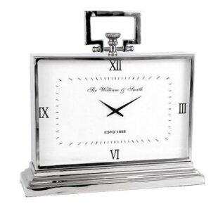 Mantel Clock - 'Sir William & Smith' Clock Co - Polished Chrome - Roman Numerals