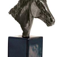 Bronze Horse Head On Large Black Base
