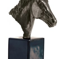 Bronze Horse Head On Large Black Base