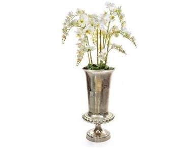 Orchid Flower Display - White Orchid Arrangement - Hammered Metal Vase