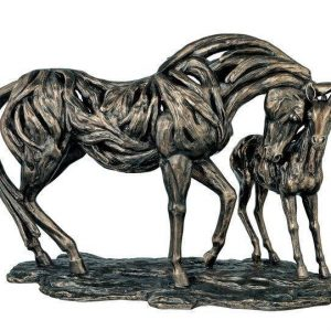 Cold Cast Bronze Statue - Driftwood Style - Carved Mare & Foal