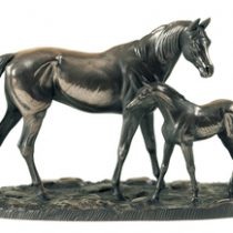 Large Mare and Foal sculptured in Bronze
