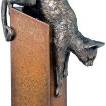 Cold Cast Bronze Statue - Pouncing Cat On Stand