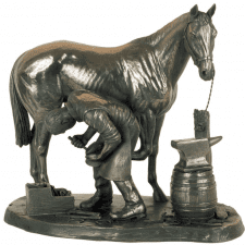 Carved Bronze Statue - Blacksmith Shoeing A Horse