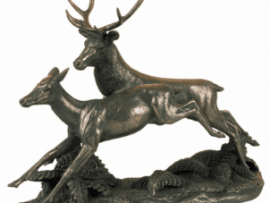 Running Stag & Doe Statue - Cold Cast Bronze Finish - Large