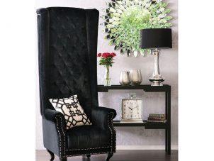 Porters Chair - Deep Buttoned Tall Porters Chair - Black Velvet