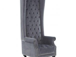 Porters Chair - Deep Buttoned Tall Porters Chair - Grey Velvet