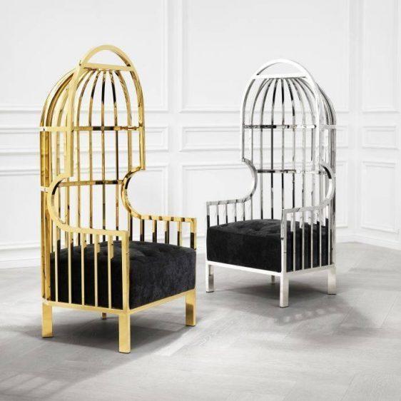 Porters Chair - Highly Polished Chrome Frame - Black Velvet Upholstery
