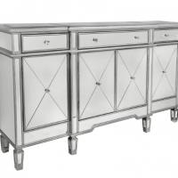 Sideboard - Silver Surround Mirrored Sideboard - 3 Drawer 4 Door