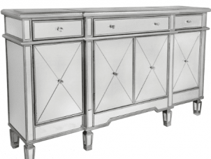 Sideboard - Silver Surround Mirrored Sideboard - 3 Drawer 4 Door