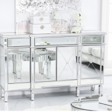'Beaumont' Silver Edged Mirrored Glass 3 Drawer 4 Door Sideboard