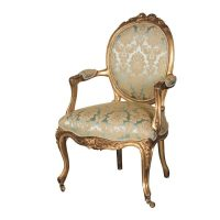 Nursing Armchair - Green & Gold Silk Upholstered - Antique Gilt Range