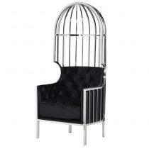 Porters Chair - High Polished Chrome Frame - Black Velvet Upholstery