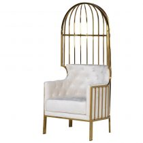 Porters Chair - High Polished Brass Frame -Porters Chair - High Polished Brass Frame - Cream Velvet Upholstery