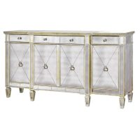 Sideboard - Large 4 Drawer Mirrored Sideboard - Antique Mirrored Range