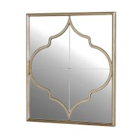 Wall Mirror - Small Square Moroccan Inspired Wall Mirror - Champagne Finish