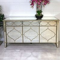 Sideboard - 3 Door 3 Drawer - Mirrored Finish - Champagne Gold Surround