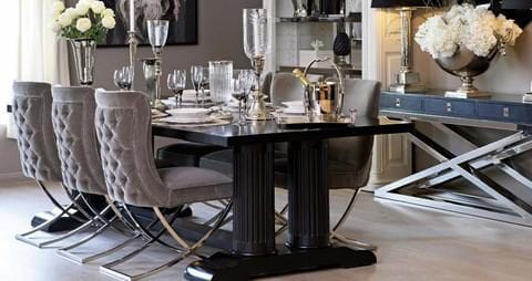 Kensington Column Leg Black Dining Table