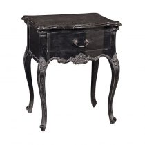 Bedside Table - 1 Drawer - Marble Top - French Antique Black