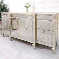 Sideboard - Large 4 Drawer 4 Door Mirrored Sideboard - Antique Mirrored Range