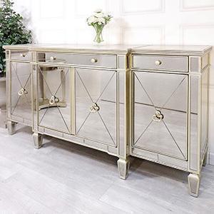 Sideboard - Large 4 Drawer 4 Door Mirrored Sideboard - Antique Mirrored Range