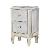 Bedside Cabinet - 2 Drawer Mirrored Bedside - Antique Mirrored Range