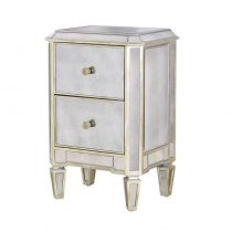 Bedside Cabinet - 2 Drawer Mirrored Bedside - Antique Mirrored Range