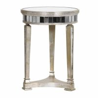 Lamp Table - Round Mirrored Lamp Table - Antique Mirrored Range