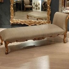 Versailles Range - Silk Upholstered Chaise Longue - Gilt