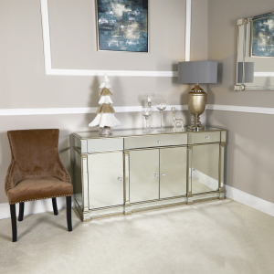 Sideboard - Champagne Silver Surround - Bevel Mirrored - 3 Drawers - 4 Door