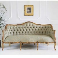 3 Seater Sofa - Gold & Green Silk Fabric - Carved Surround - French Gilt Finish