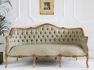 Sofa - 3 Seater - Gold & Green Silk Fabric - Carved Surround - Antique Gilt Range