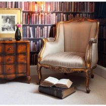 Library Chair - Silk Upholstered Fabric - French Gilt Finish