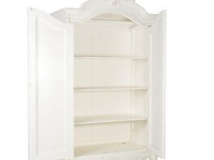 Wardrobe - Carved Double Door Mirrored Armoire/Wardrobe - French Antique White