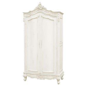 Wardrobe - Carved Double Door Armoire/Wardrobe - French Antique White