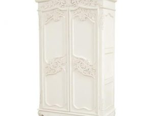 Wardrobe - Large Carved Double Door Armoire/Wardrobe - French Antique White