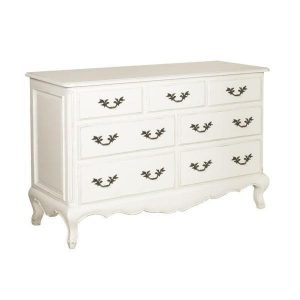 Chest Of Drawers - 7 Drawer Long Carved Chest - French Antique White