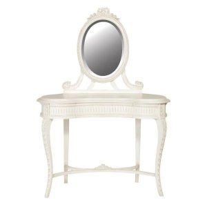 Dressing Table & Mirror - Carved Kidney Shaped - French Antique White