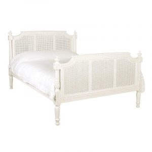 5ft King-Size Carved Bed - Ornate French Design - French Antique White