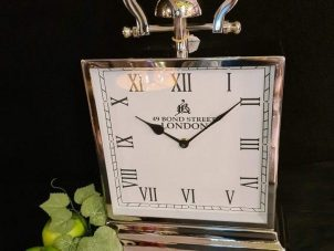 Mantel Clock - Bond Street London Co - Chrome Mantel Clock