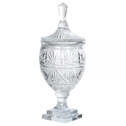 Large Cut Glass Lidded Apothecary Bonbon Jar