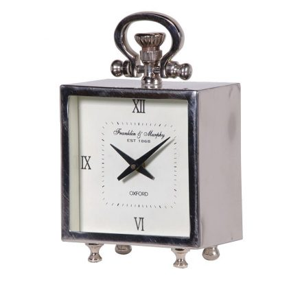 Mantel Clock - Franklin & Murphy Clock Co - Small Square Chrome Mantel Clock