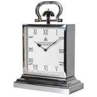 Mantel Clock - Medium 'Bond Street London' Chrome Mantel Clock - Roman Numerals