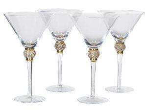 Martini Glasses - Gold Crystal Ball Design - Set Of 4