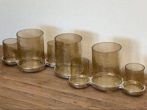 T Light Holder - 7 Smokey Glass Vase Hurricane Candle T Light Holder