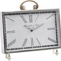 McLaughlin & Scott Leather Handle Chrome Mantel Clock - Roman Numerals