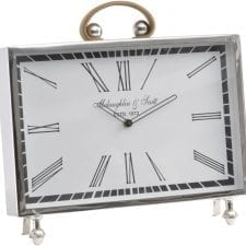 McLaughlin & Scott Leather Handle Chrome Mantel Clock - Roman Numerals