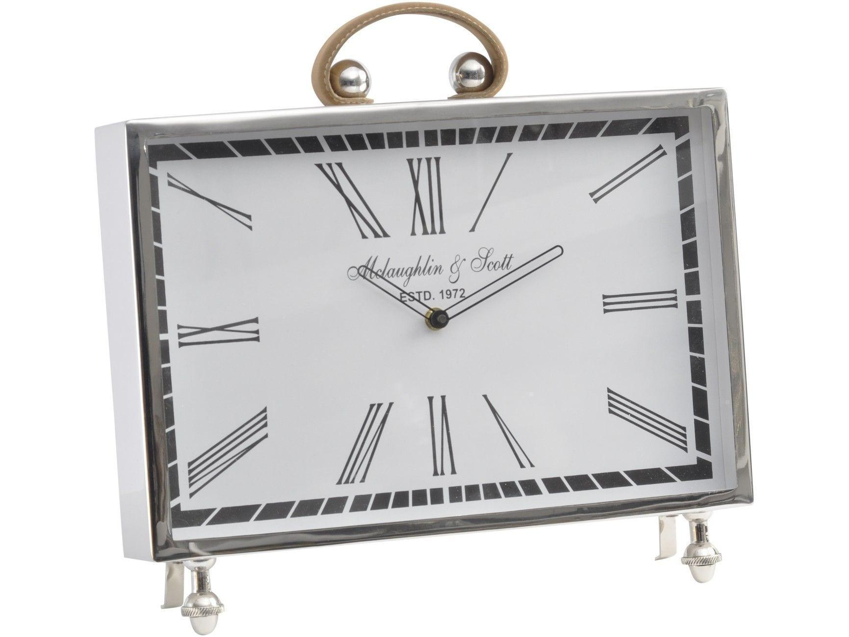 Mclaughlin Amp Scott Leather Handle Chrome Mantel Clock Roman